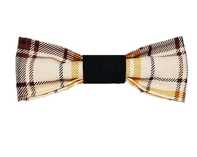 Featured listing image: Golden Harvest Plaid dog bow and bowtie|Autumn|Rustic country wedding accessories|Gifts for dogs