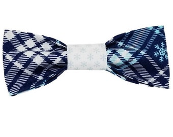 Snowflake plaid dog bow and bowtie|Holiday|Christmas|Snowflake|Winter|Boho|Gifts for dogs and dog lovers