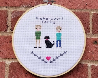 PupStitch - Custom cross stitch family portraits|Gifts for dog lovers|Unique custom keepsakes