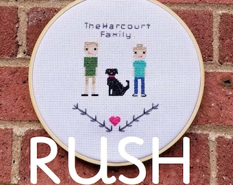 PupStitch RUSH Custom cross stitch family portraits|Gifts for dog lovers|Unique custom keepsakes