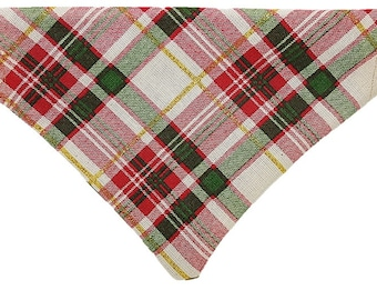 Holiday Plaid reversible dog bandana|Snowflakes|Winter|Christmas|Gifts for dogs and dog lovers