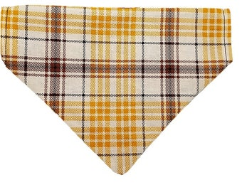 Golden Harvest Plaid reversible dog bandana|Autumn|Rustic country wedding accessories|Gifts for dogs