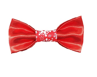 Red Satin Snow dog bow-tie|Holiday|Christmas|Snowflake|Gifts for dogs and dog lovers