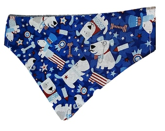 Uncle Sam glitter reversible dog bandana |4th of July|USA|American|Summer picnic and holidays| Gifts for dogs