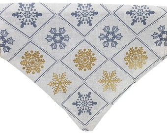 Winter Snowflakes reversible dog bandana|Snowflakes|Snow|Gold and Silver holiday|Gifts for dogs and dog lovers