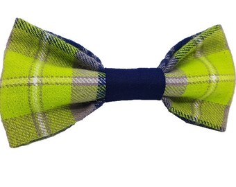 Swanky Lime dog bow-tie|Wedding rustic dapper|Plaid flannel|Preppy hipster gifts for dogs