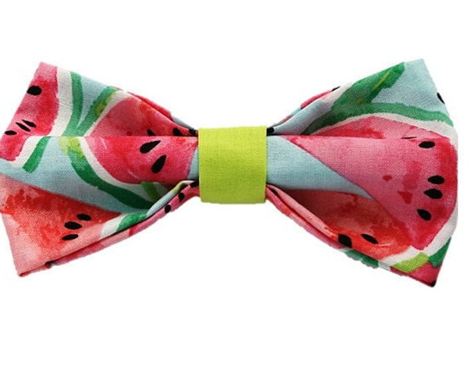 Featured listing image: Watermelon Lime dog bow-tie Summer fashion Dog accessories Wedding Hipster Gifts for dogs and dog lovers