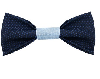 Navy dot dog bow-tie|Wedding rustic dapper|Polka dots|Preppy hipster gifts for dogs