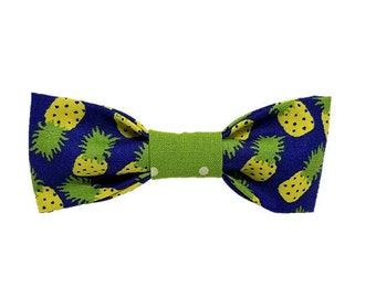 Midnight Pineapple dog bow & bow-tie|Funky summer fruity design|Gifts for dogs and dog lovers