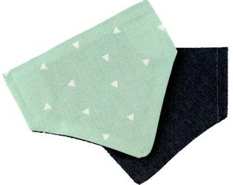 Mint Confetti Reversible denim dog bandana - Retro unique preppy summer pet accesory