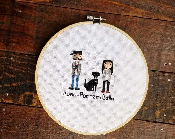 Featured listing image: PupStitch - Custom cross stitch family portraits|Gifts for dog lovers|Unique custom keepsakes