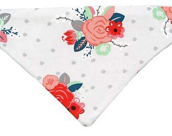 Pink Mint Flower Bouquet reversible dog bandana|Preppy|Floral polka dots|Gifts for dogs and dog lovers