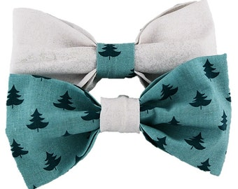Frozen Trees - Dog bow-tie|Winter|Hipster dog accessories|Evergreen tree|Snow and snowflake bow|Gifts for dogs and dog lovers