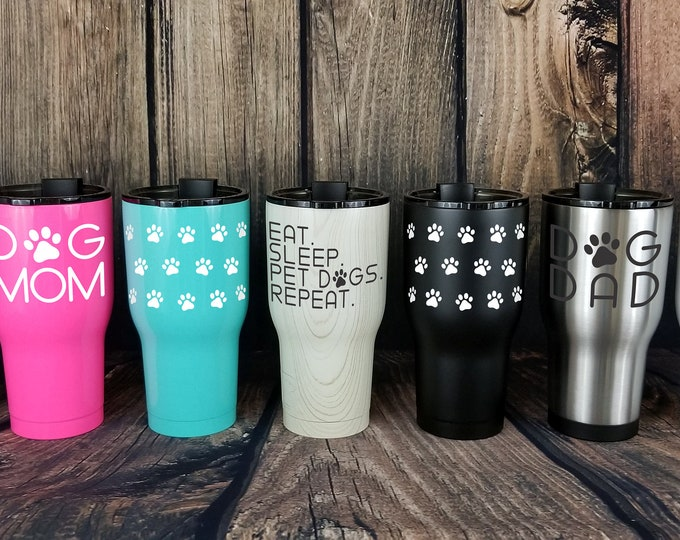 Featured listing image: 32 oz Dog Lovers Tumblers - metal hot & cold travel cup | 6 Sayings |Gifts for dog lovers|Dog Dad|Dog Mom |Pawprints|Coffee|FREE SHIPPING