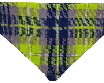 Swanky Lime plaid reversible dog bandana|Punk hipster preppy|Gifts for dogs