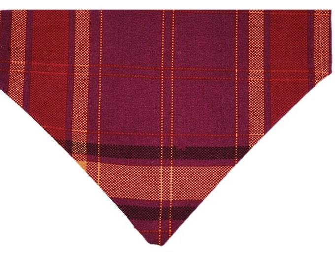 Featured listing image: Plum Harvest Plaid reversible dog bandana|Autumn|Rustic country wedding accessories|Gifts for dogs