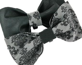 Black Damask - Dog bow|Wedding|Vintage design|Silver and grey retro dapper accessories