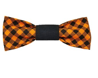 The Henry dog bow and bowtie|Autumn|Halloween|Fall|Orange|Rustic country wedding accessories|Gifts for dogs