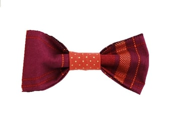 Plum Harvest Plaid dog bow-tie|Autumn|Rustic country wedding accessories|Gifts for dogs