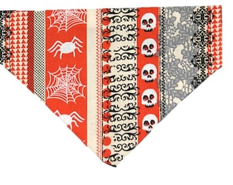 Spooky Lace reversible dog bandana|Haunted Halloween|Spooky creepy skulls spiders|Gifts for dogs