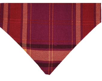 Plum Harvest Plaid reversible dog bandana|Autumn|Rustic country wedding accessories|Gifts for dogs