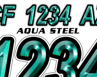 Aqua Steel Custom Boat Registration Numbers Decals Vinyl Lettering Stickers