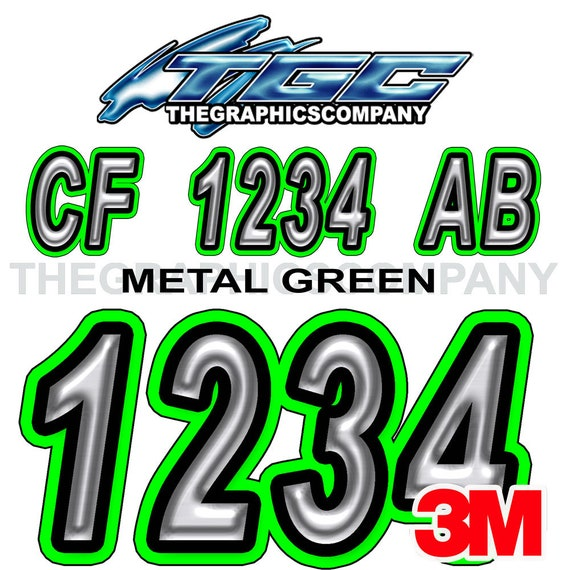 White Green Custom Boat Registration Numbers Decals Vinyl Lettering Stickers