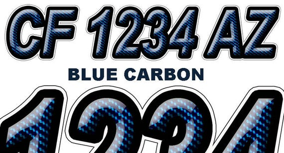 Blue Carbon Boat Registration Numbers Or Letters Decals