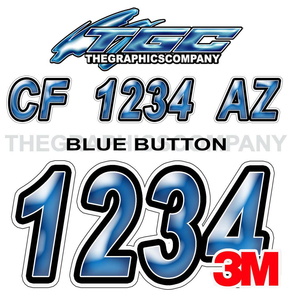 White Aqua Custom Boat Registration Numbers Decals Vinyl Lettering Stickers
