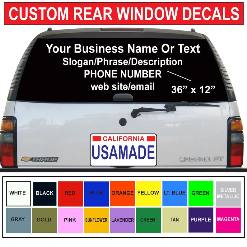 Custom 36 X 12 Rear Car Auto Window Decals Cut Vinyl Stickers White Or Colors Custom Logos Custom Size Choices