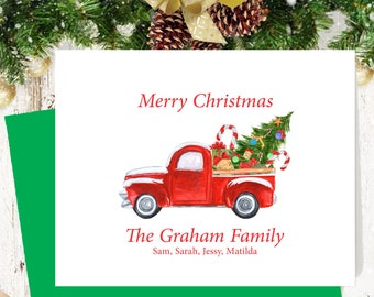 Personalized watercolor Christmas cards, xmas card set, holiday cards, watercolor greeting cards, custom christmas card, set of 10,   CM112