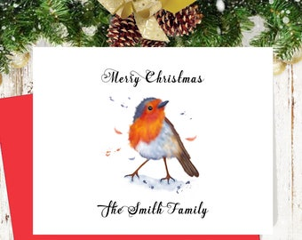 Robin personalized watercolor Christmas cards, xmas card set, holiday cards, watercolor greeting cards, custom christmas card set,     CM113