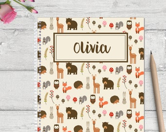Woodland animals personalized notebook for kids, spiral notebook, personalized note book, custom notebook, custom journal for kids,