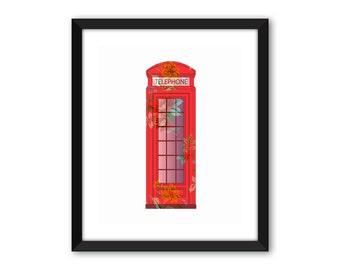 British red telephone box,  nursery print, birthday gift, wall print, UK print