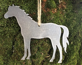 Horse Metal Christmas Ornament, Horse Ornament, Farm Animal Christmas Ornament, Equestrian Ornaments, Personalized Horse Gifts