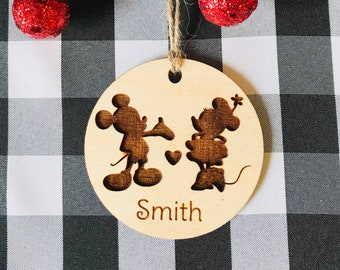 Mickey and Minnie Mouse type ornament- Disney type ornament- Christmas ornament- laser engraved-personalized ornament-