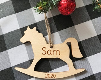 Personalized First Christmas ornament- Baby's first Christmas - wood Christmas ornament- laser engraved-personalized ornament-rocking horse
