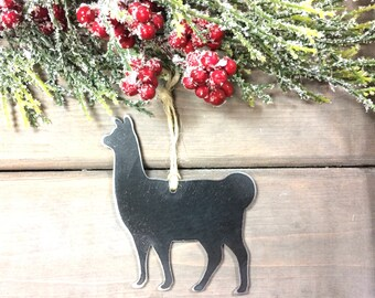 Llama Metal Christmas Ornament-farmhouse Christmas Decor-Rustic Christmas-easy christmas gifts under 10, farm animal ornaments-love my llama