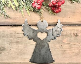 Angel Metal Christmas Ornament, Christmas Decor, Rustic Christmas, traditional christmas ornament