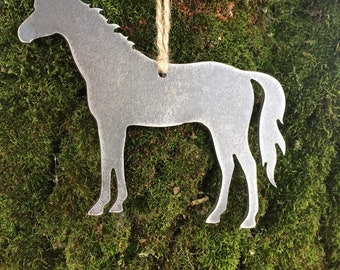 Horse Metal Christmas Ornament, Christmas Decor, Rustic Christmas