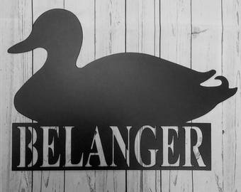 Duck Silhouette Metal Sign With Name