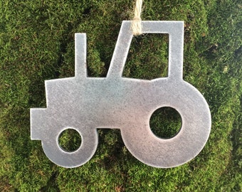 Tractor Metal Christmas Ornament