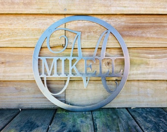 SALE   Bundle of 2- 36 INCH  Circle Monogram Last Name Metal Sign