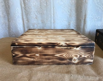 "10"" x 10"" Toasted Wood Cake Stand"