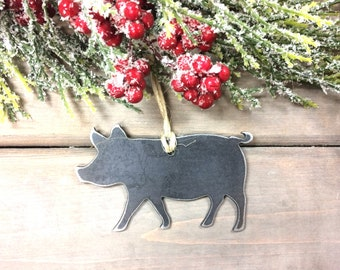 Pig Metal Christmas Ornament, farmhouse Christmas Decor, Rustic Christmas, easy christmas gifts under 10, farm animal ornaments