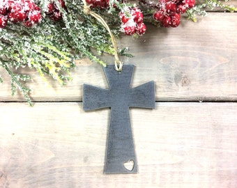 Cross Metal Christmas Ornament, Christmas Decor, Rustic Christmas, farmhouse christmas decor, christian christmas gifts