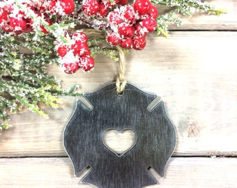 Firefighter Metal Christmas Ornament-Christmas Decor-Rustic Christmas,unique christmas gifts-first responder gift