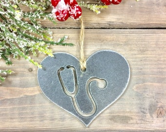 Nurse love Metal Christmas Ornament, Christmas Decor, Rustic Christmas,Nurse Ornament, christmas idea under 10, first responders