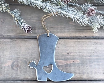 Cowgirl Boot Metal Christmas Ornament, farmhouse Christmas Decor, Rustic Christmas, easy christmas gifts under 10-cowgirl love-cowgirl gift