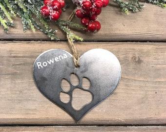 Dog Paw Print metal Ornament, Christmas Decor, Rustic Christmas, Pet Christmas Gift, Dog Christmas ornament, dog christmas gift, puppy love,